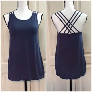 Athleta Blue Strappy Back Athletic Tank Top Medium